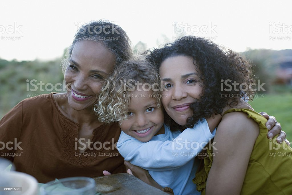 African family hugging stock photo