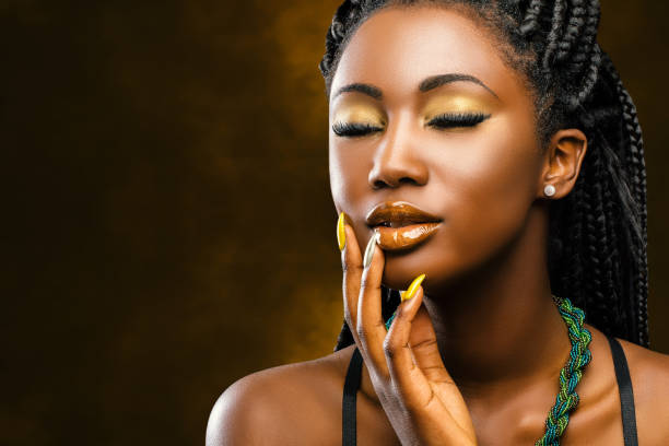 African female beauty portrait with eyes closed. stock photo