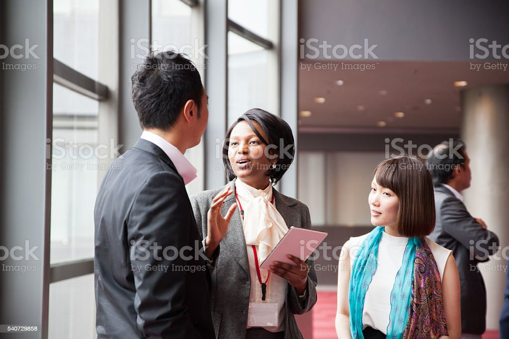 African Female business manager leads the discussion stock photo