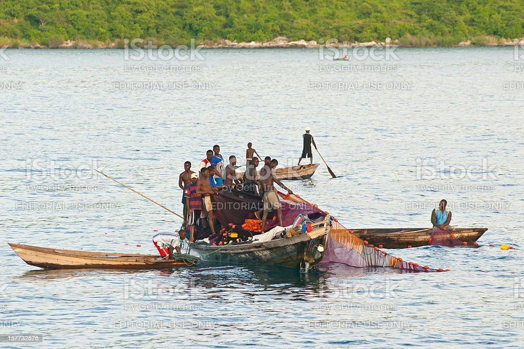 African fisherman at Lake Tanganyika, Tanzania stock photo