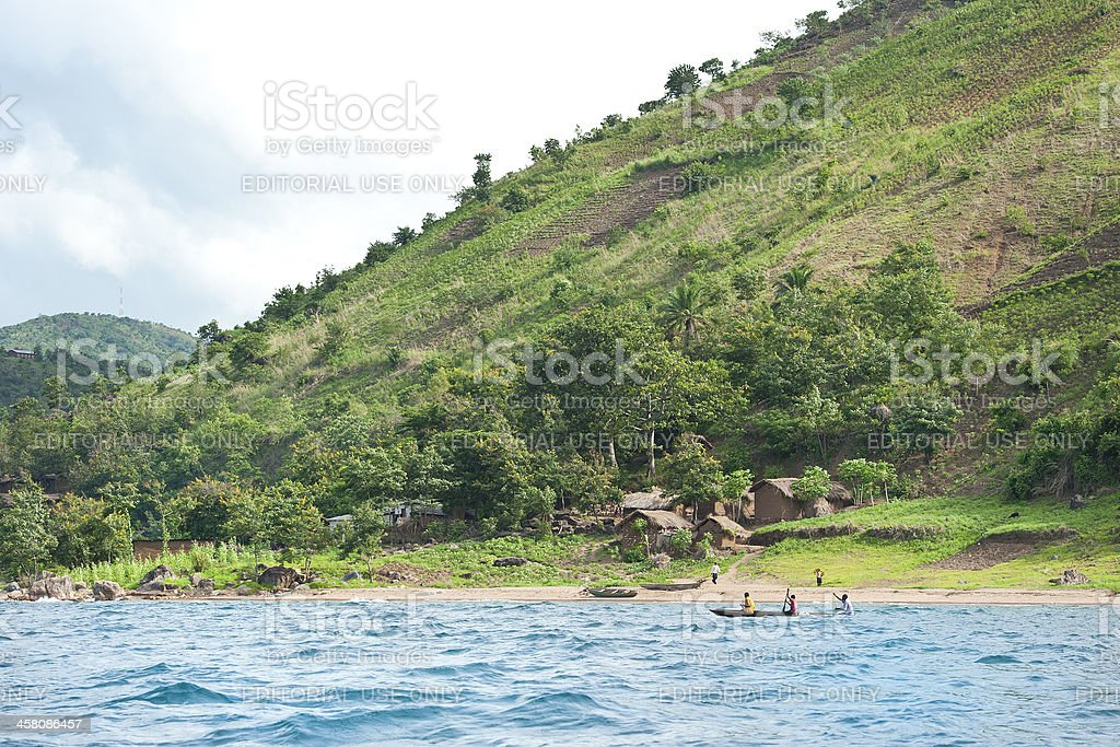 African fisherman at Lake Tanganyika, Tanzania royalty-free stock photo