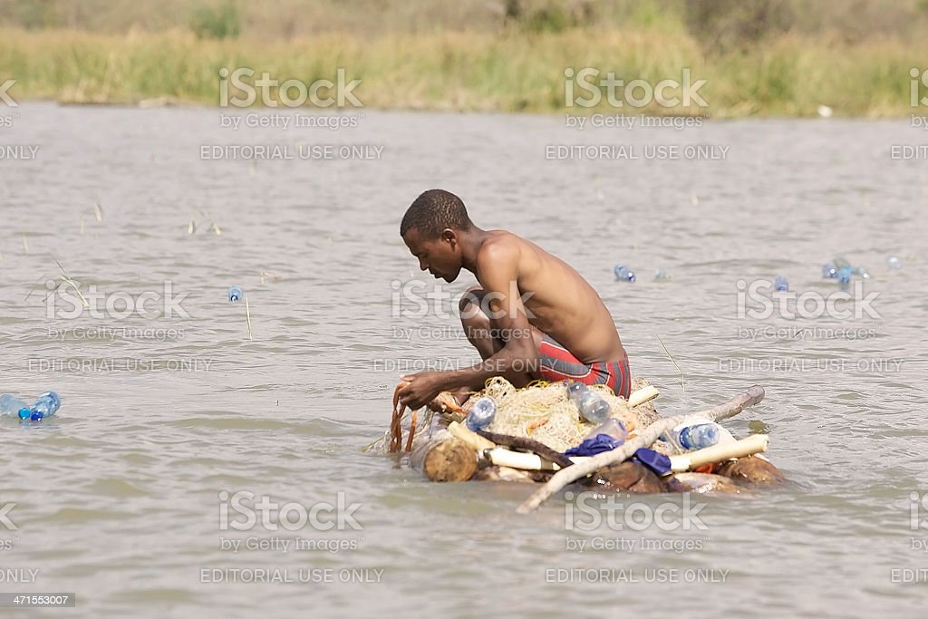 African fisherman stock photo