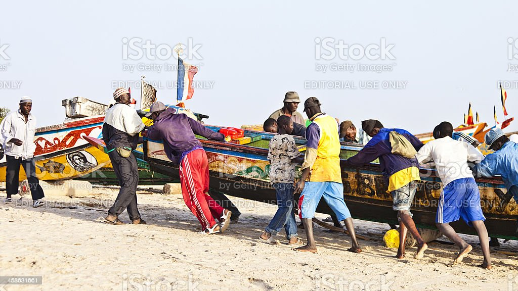 African fishing action. stock photo