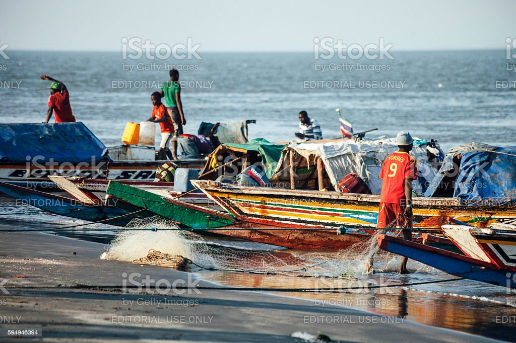 African fishing boats. The Gambia. stock photo