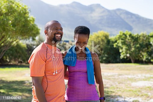 istock African fitness mature couple laughing at park 1153409242