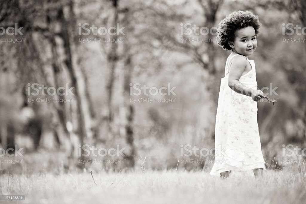African girl in black and white stock photo