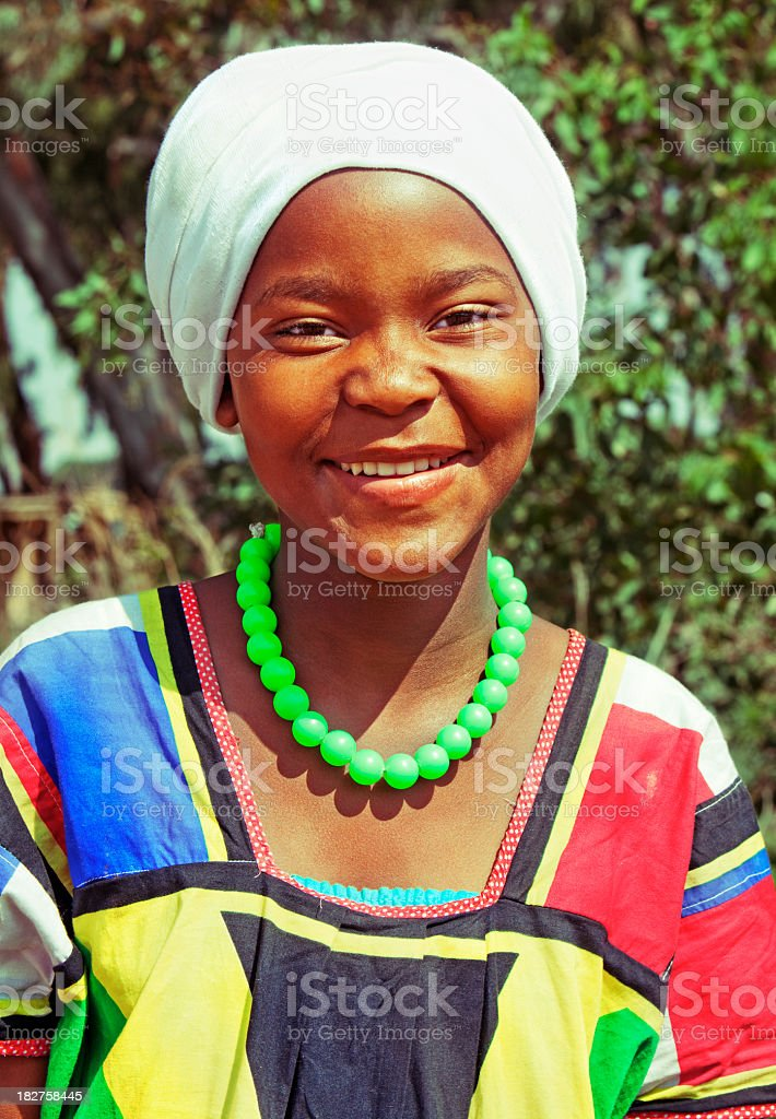 African Girl in Traditional Dress stock photo