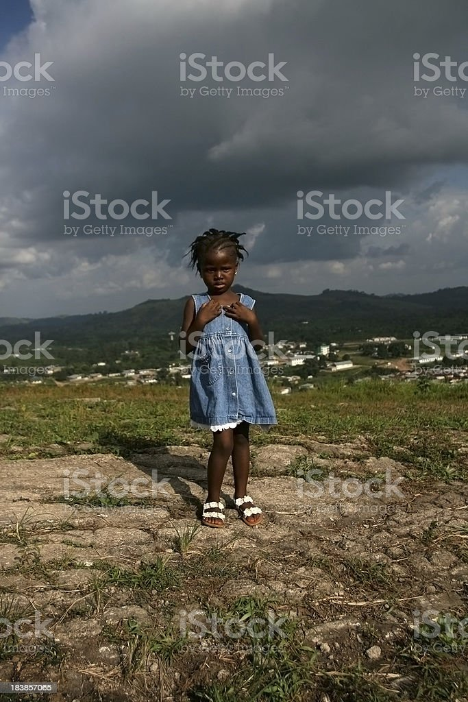 African Girl on Hill stock photo