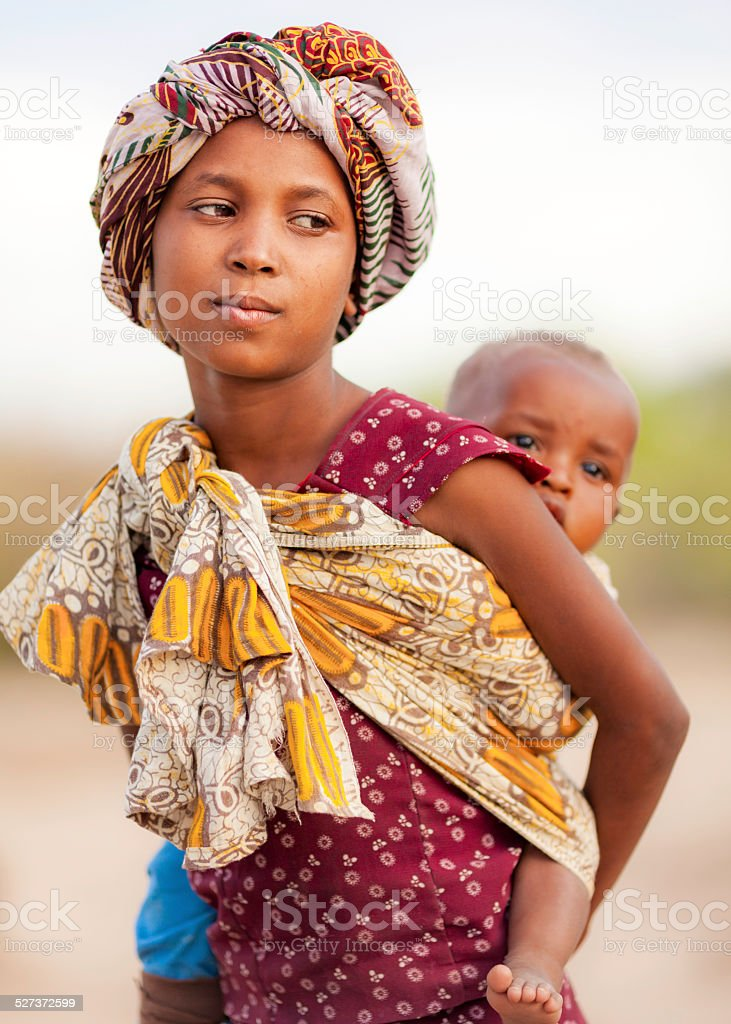 African Girl with a Baby Sling stock photo