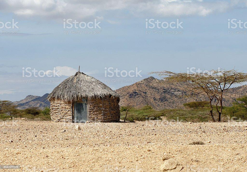 african hut in Kenya stock photo