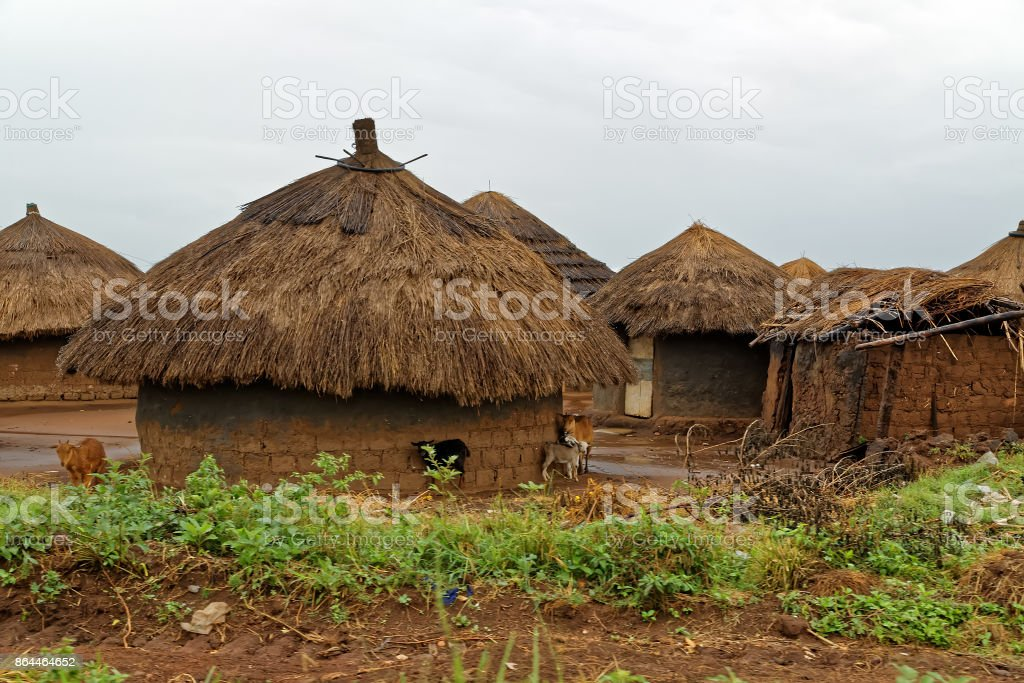 African Huts on a Rainy Day in Uganda stock photo
