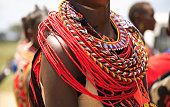 African jewellery on a woman from the Samburu tribe Kenya Africa (350dpi)