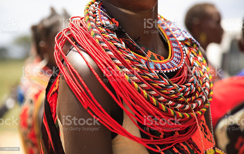 African jewellery on a female, Samburu tribe Kenya Africa stock photo