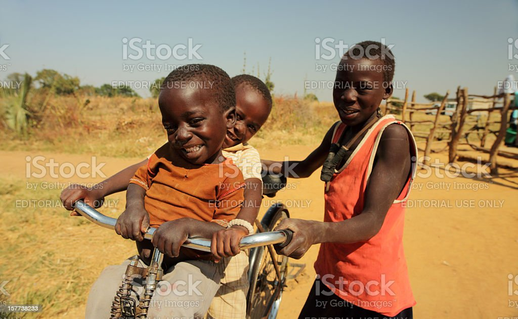 African kids in the bush stock photo