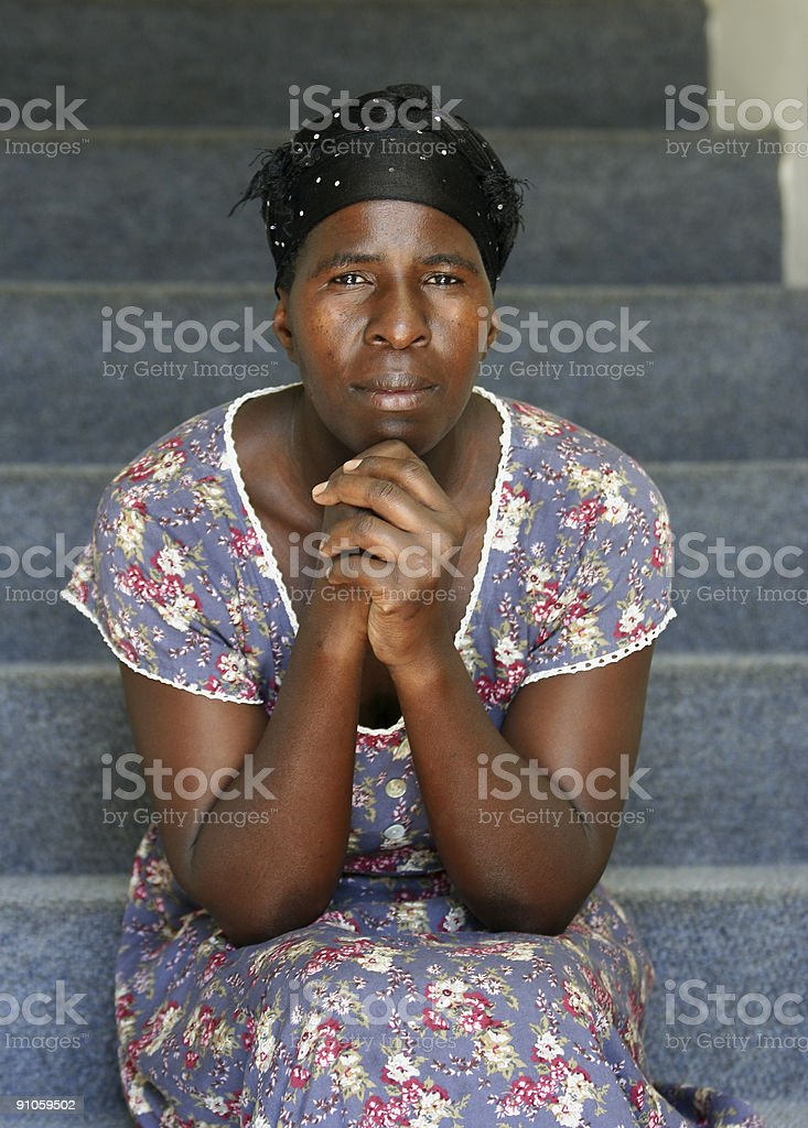 African Lady on a Staircase royalty-free stock photo