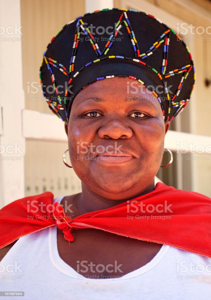 African Lady with Zulu dress stock photo