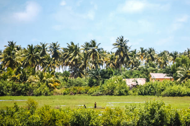 African lagoon village - Benin stock photo