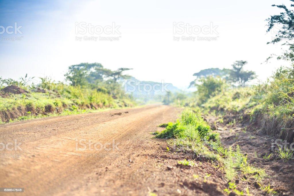 African Landscape Dirt Road Through Savanna Kenya Stock