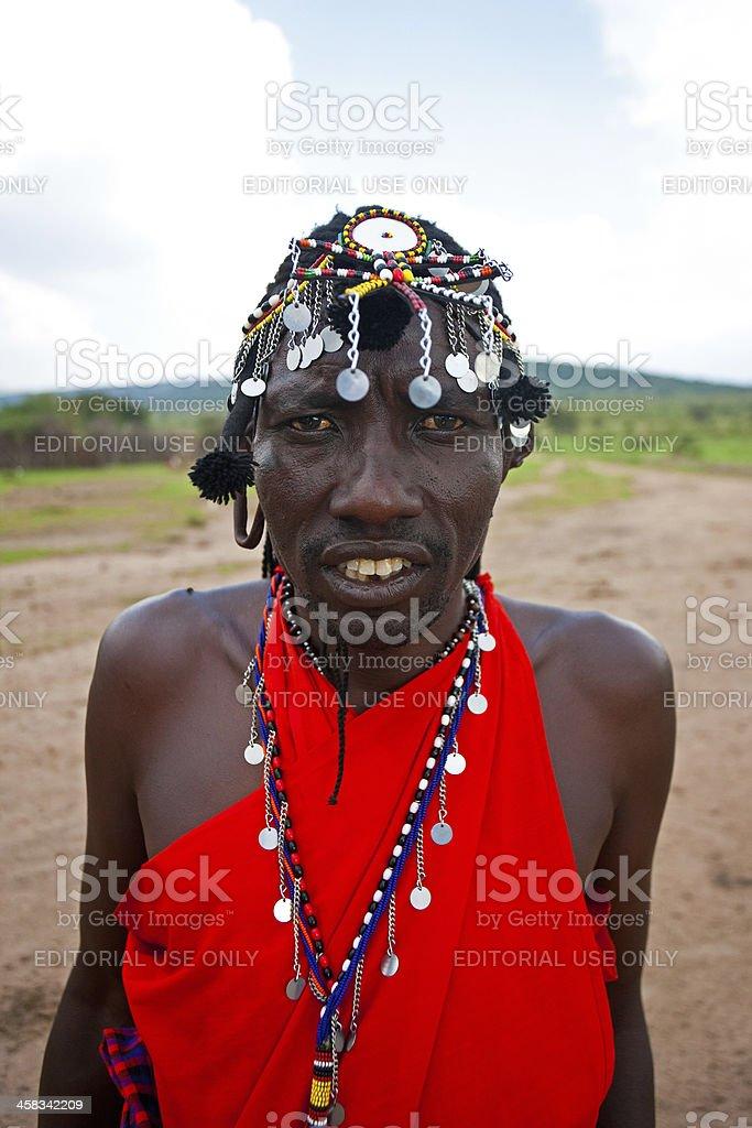 African Maasai warrior royalty-free stock photo
