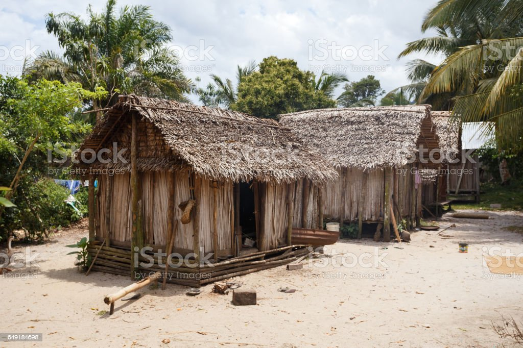 African malagasy huts in Maroantsetra region, Madagascar stock photo