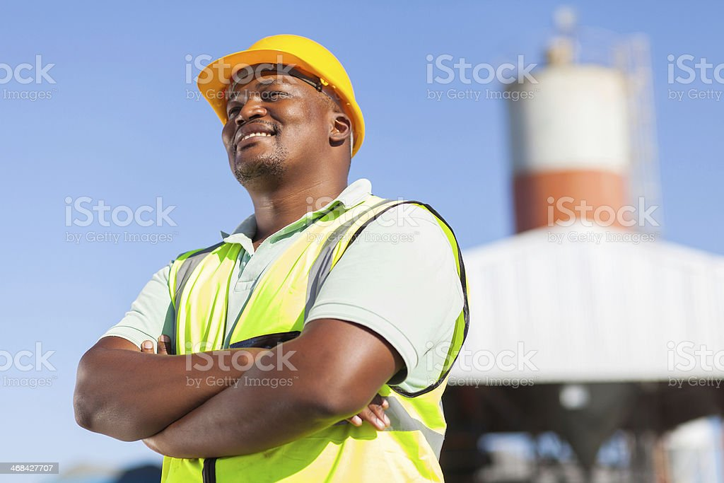 african male constructor stock photo