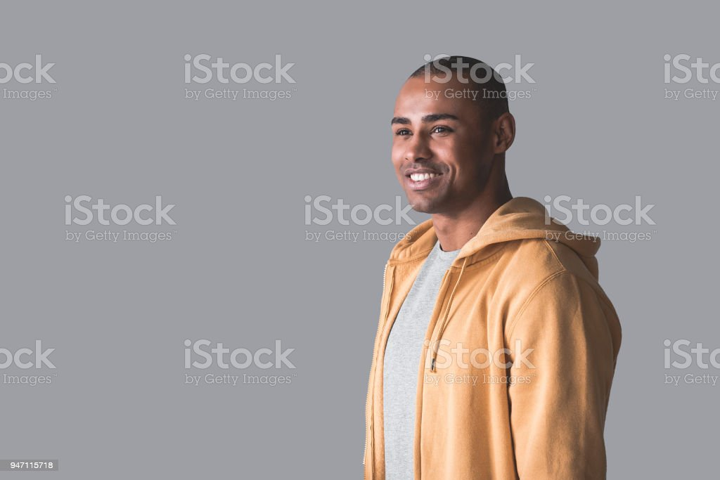 African man being young and happy stock photo