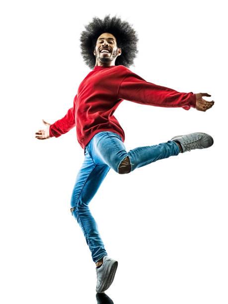 アフリカ人ダンサーダンスのシルエットで絶縁 ストックフォト