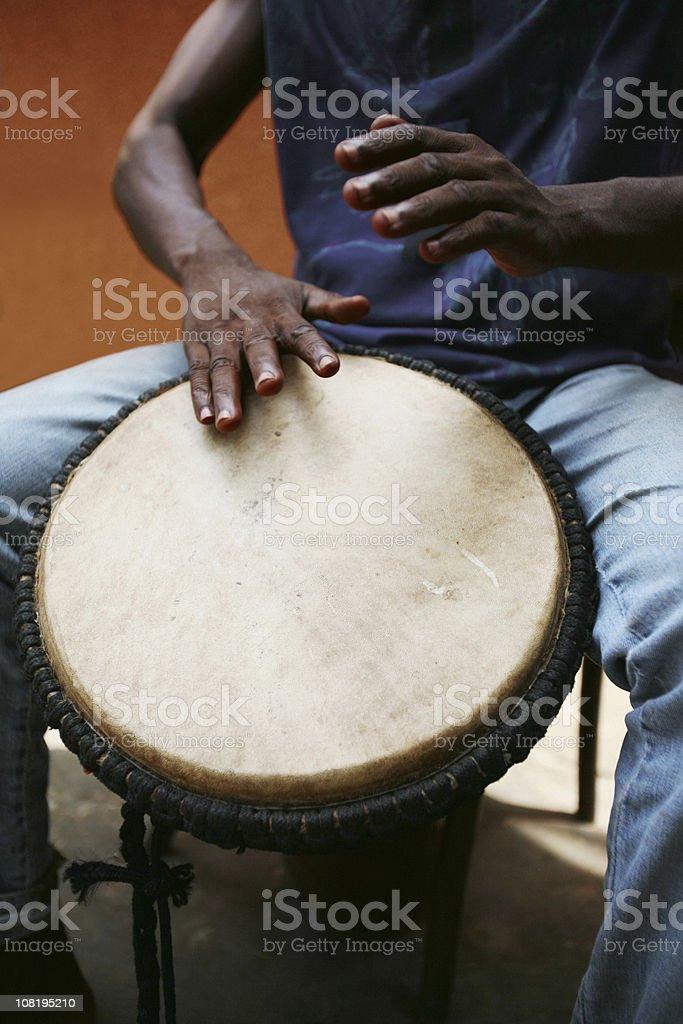 African Man Drumming royalty-free stock photo