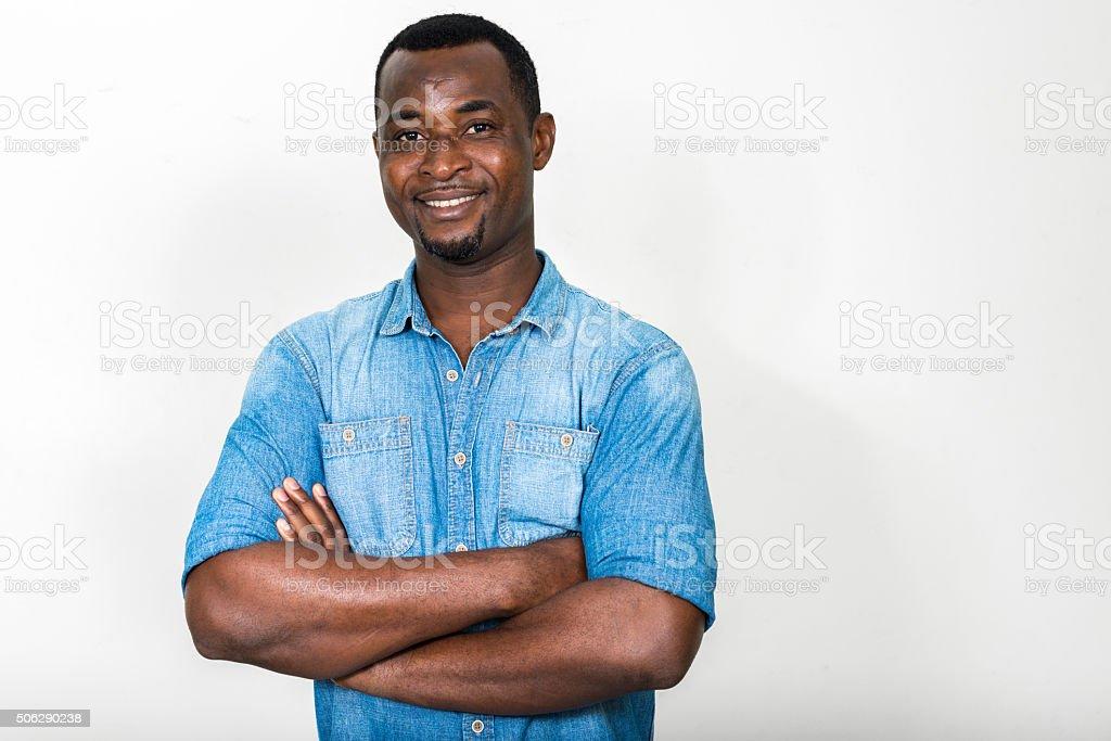 African man smiling stock photo