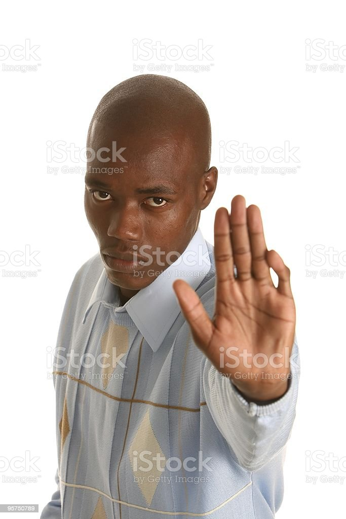 African Man Stop Sign royalty-free stock photo