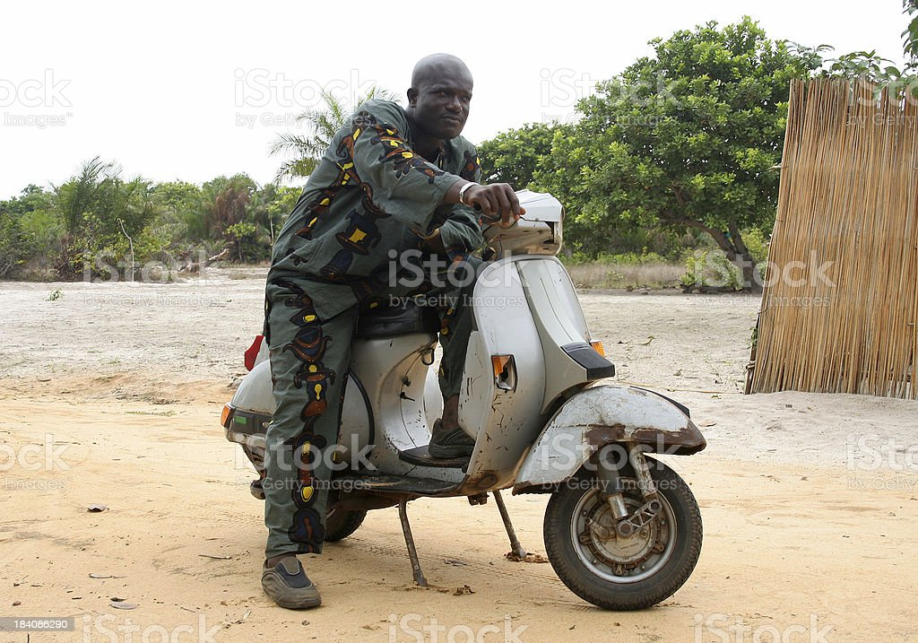 african man with bike royalty-free stock photo