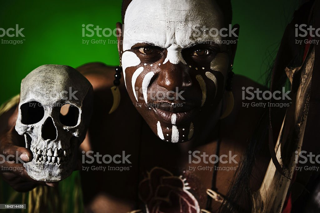 African Man With Skull stock photo
