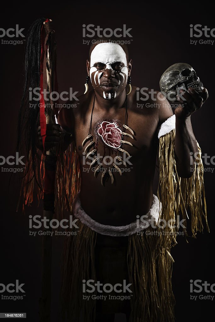 African Man With Skull royalty-free stock photo