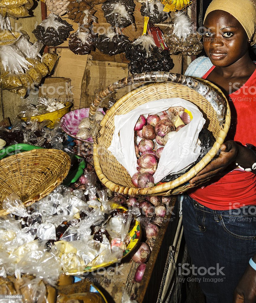 Woman showing the basket of the purchase on the market of Zidanchor\'s...