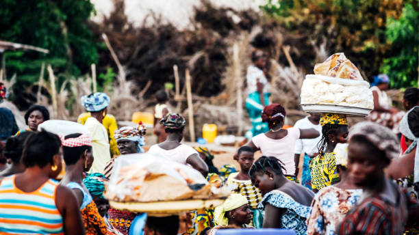 African market scene - Calavi, Benin stock photo