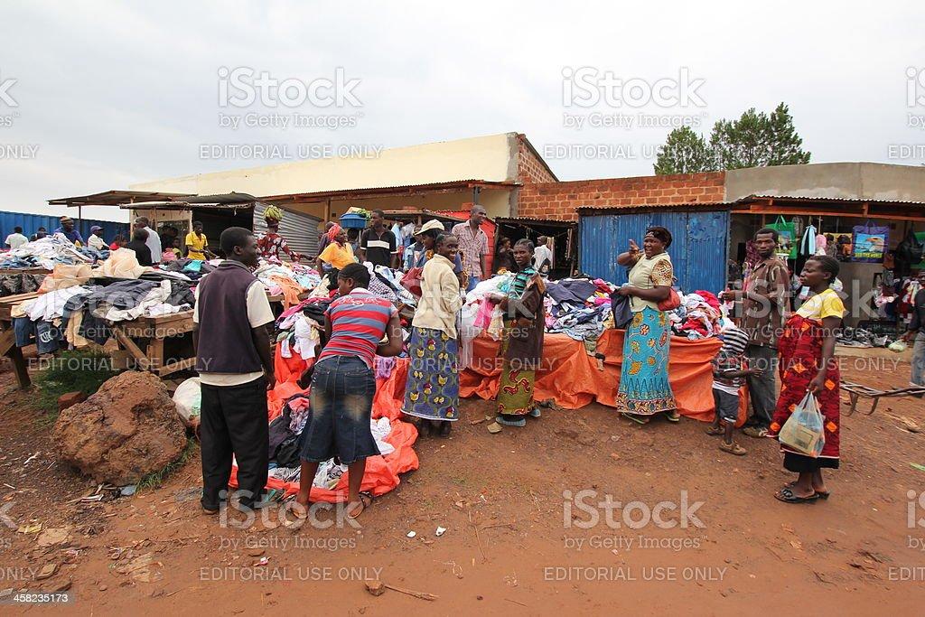African Market Scene in Rural Africa stock photo