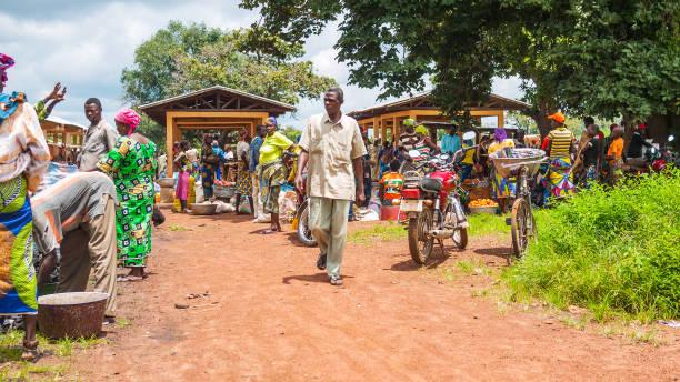 African market scene - Tata Somba, Benin stock photo