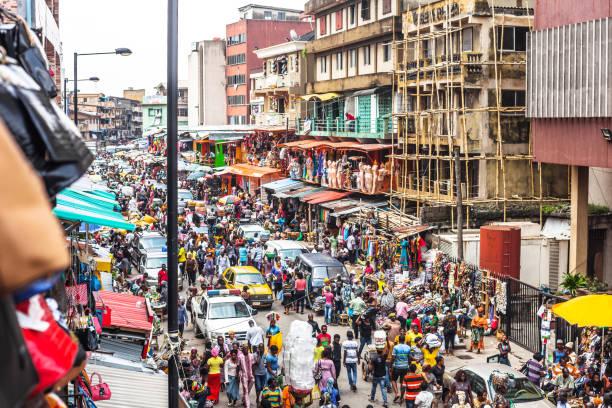 African market streets - Lagos, Nigeria stock photo