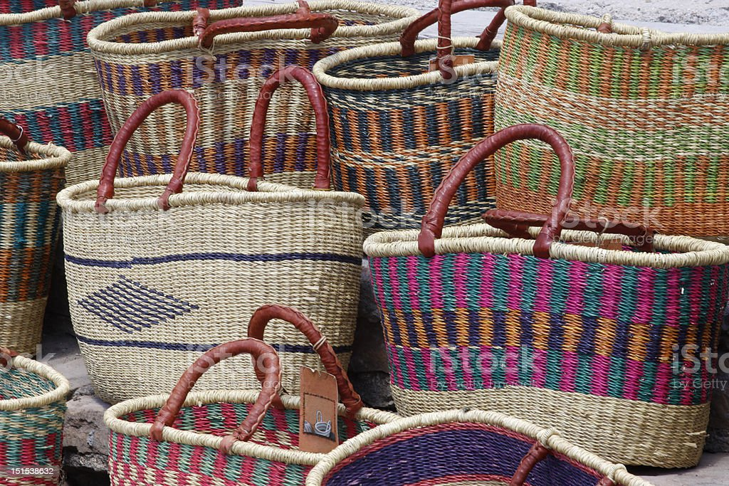 African Marketing Baskets stock photo