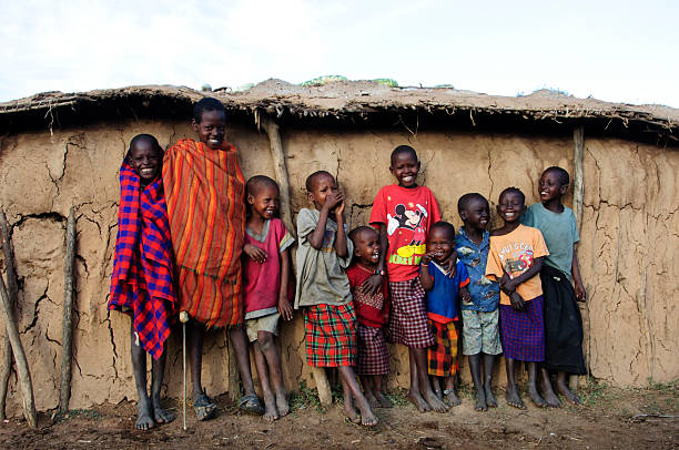 African Masai Children stock photo