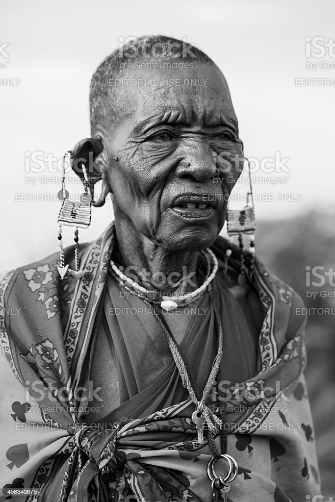 African masai old woman is posing - cataract royalty-free stock photo