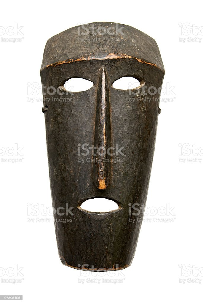 African Mask, insulated on white background royalty-free stock photo