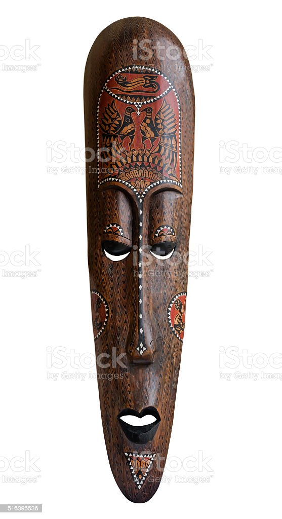 African mask over white stock photo