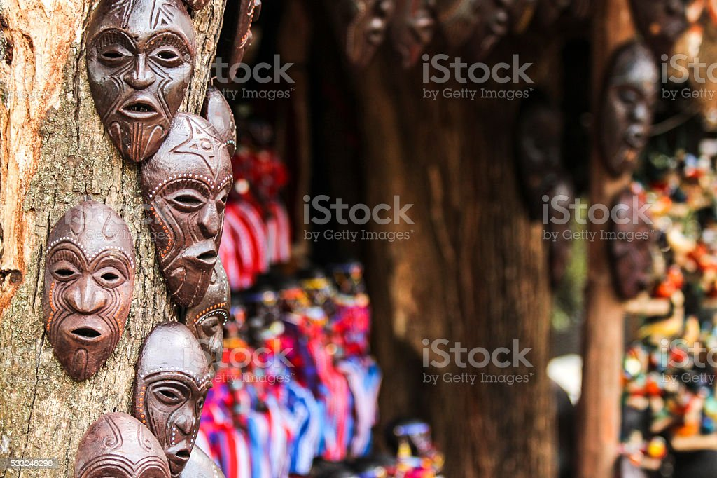 African Masks and Curios stock photo