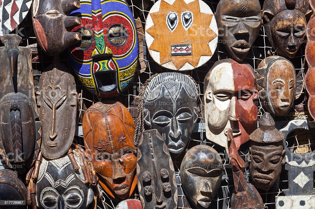 African masks for sell stock photo