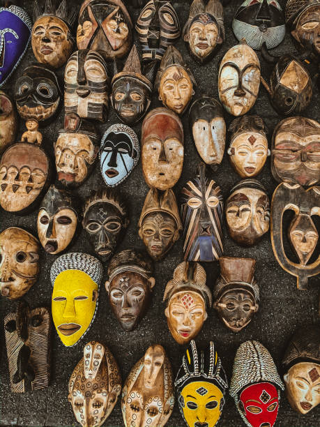 African Masks on a Local Market in Cape Town, South Africa stock photo