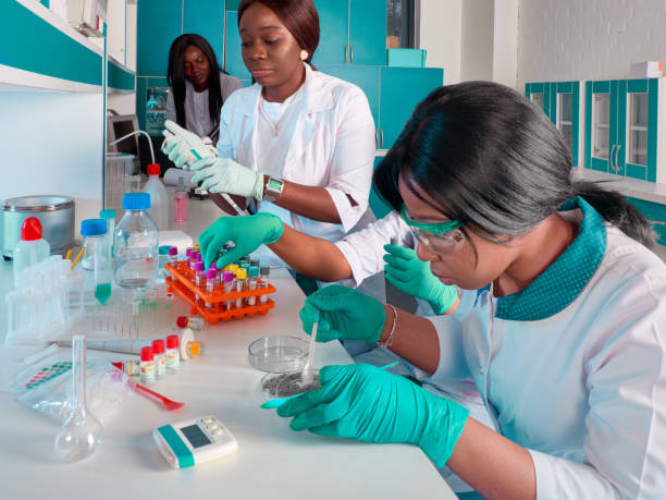 African medical students, scientists, young women working in research laboratory, medical test lab. Quality control of various substances. Laboratory environment. Basic research in biology, chemistry stock photo