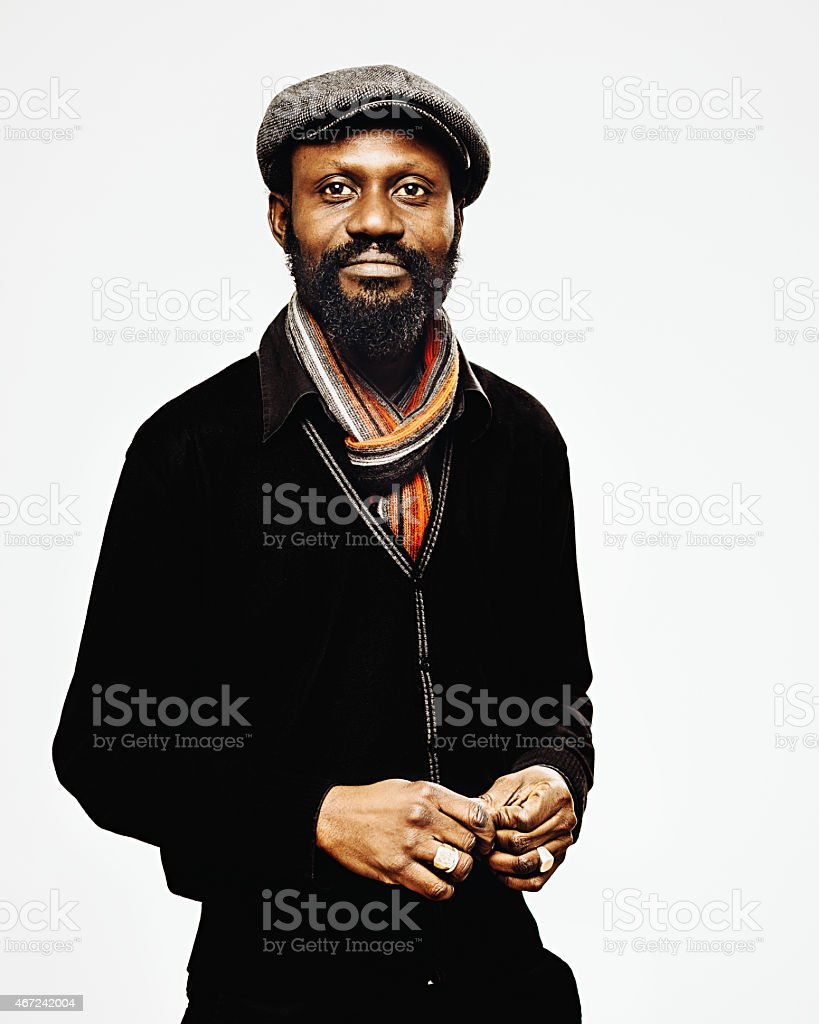 African mid age man portrait. stock photo