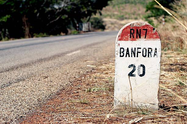 African milepost stock photo