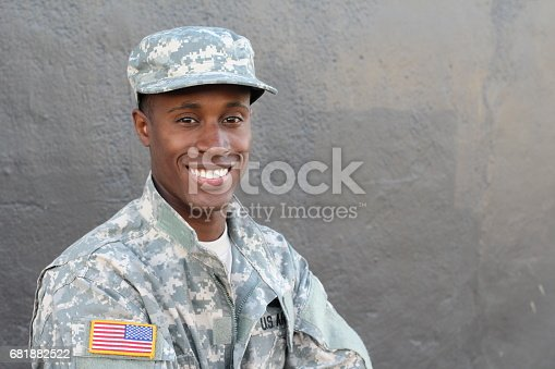 istock African military male smiling and laughing 681882522